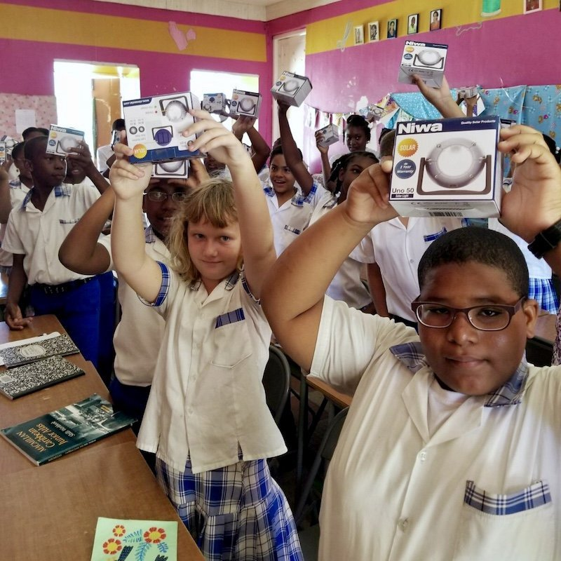Dominica Students with Solar Lamps - Solar ppower module- Innov8 Africa