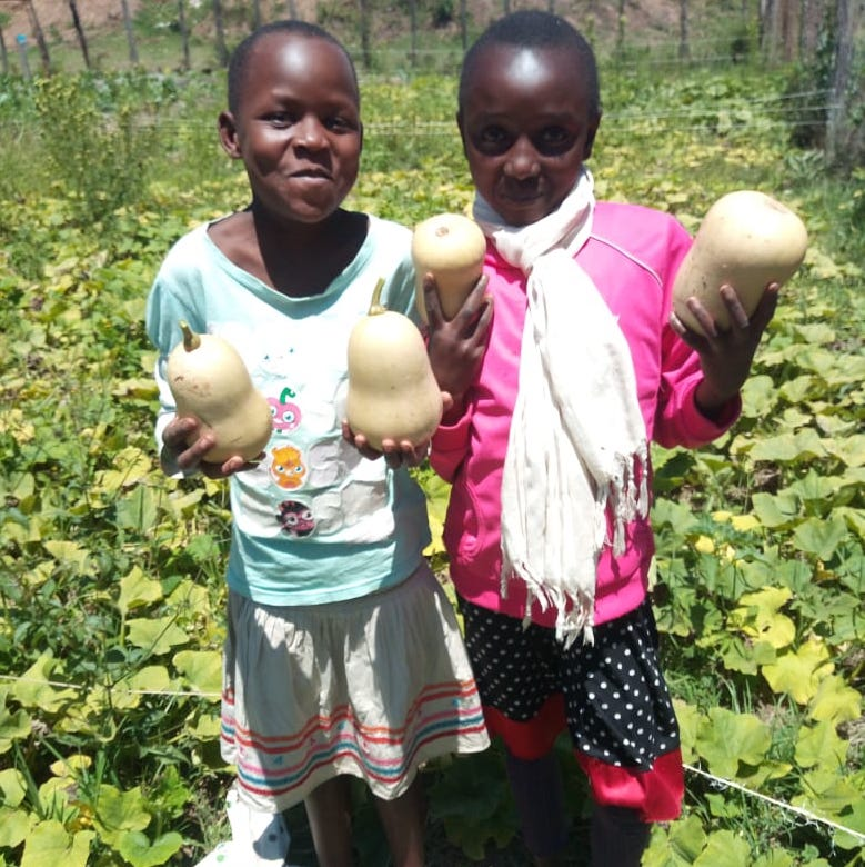 African girls in garden with harvested squash - Food security program -Innov8 Africa