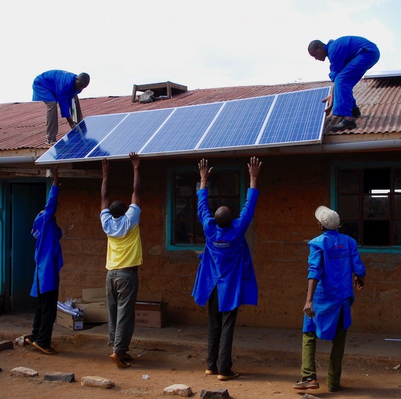 Placing solar panels on roof-solar power learning module-Innov8 Africa