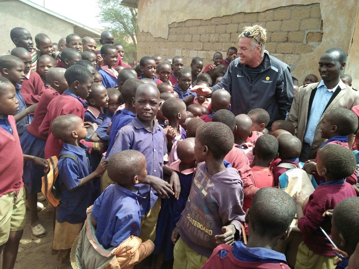 Ernie with African students