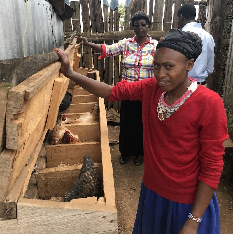 Girl in Chicken Coop with Chickens-Poultry Farming Program -Innov8 Africa